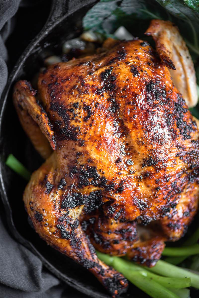 top down view of roast chicken