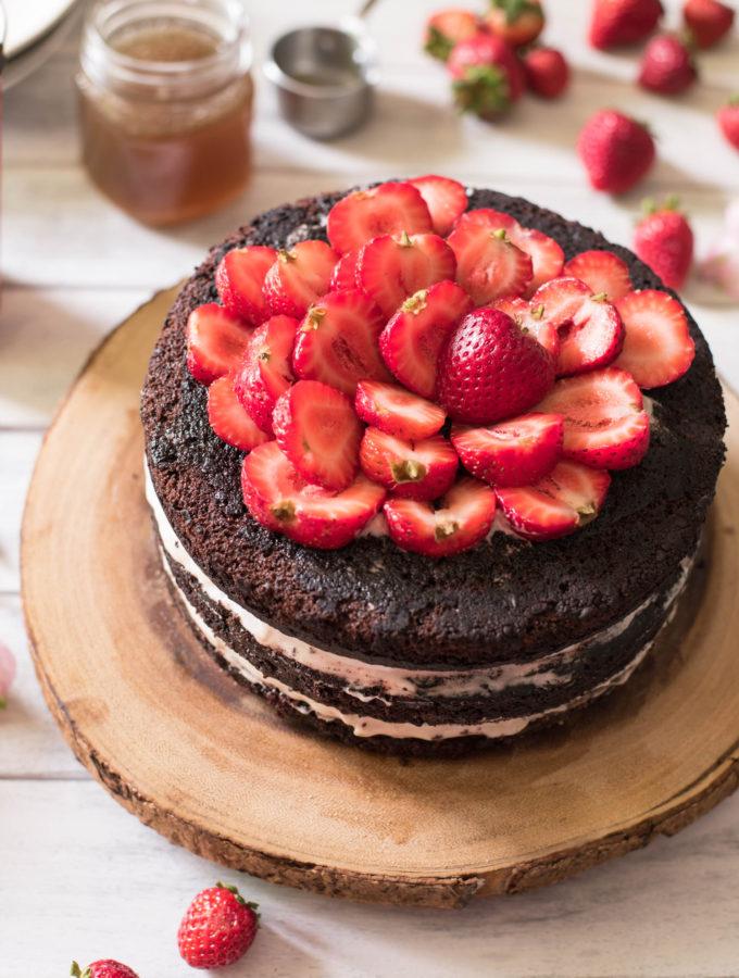 Dark Chocolate Birthday Cake with Salted Maple Caramel Sauce