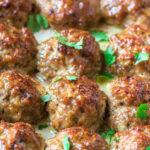 chicken meatballs with parsley garnish