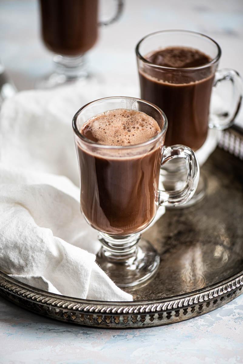 45 view of hot chocolate in glass mug