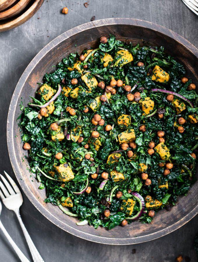 Sweet Potato Kale Salad with Roasted Chickpeas