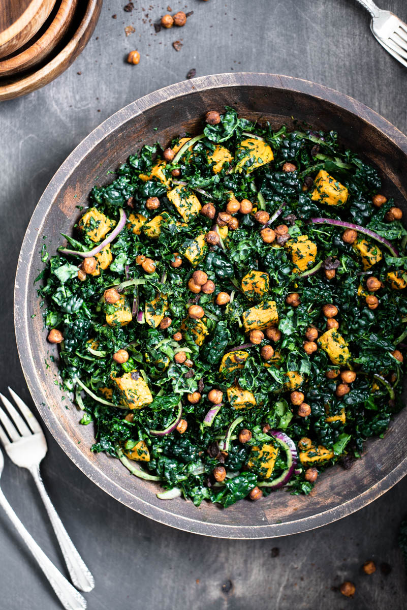 top down view of sweet potato and kale salad with roasted chickepeas
