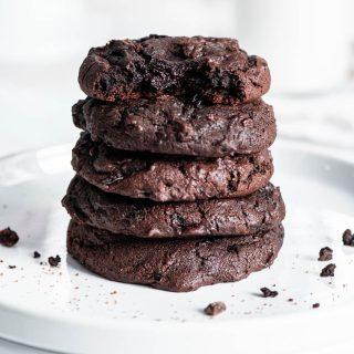 dark chocolate cherry brookies (brownie cookies) stack